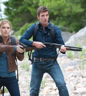 Emily Rose as Audrey Parker, Lucas Bryant as Nathan Wuornos -- Photo by: Michael Tompkins/Syfy