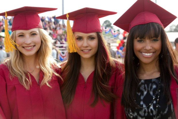 Pictured (L-R): Candice Accola as Caroline, Nina Dobrev as Elena, and Kat Graham as Bonnie -- Photo: Annette Brown/The CW -- © 2013 The CW Network