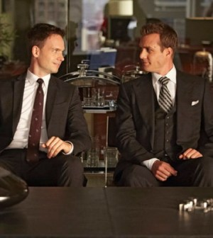 Pictured: (l-r) Patrick J. Adams as Mike Ross, Gabriel Macht as Harvey Specter -- (Photo by: Ian Watson/USA Network)