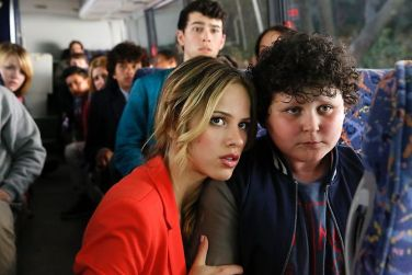 Pictured: (l-r) Halston Sage as Amber Fitch, Joshua Erenberg as Anton Roth