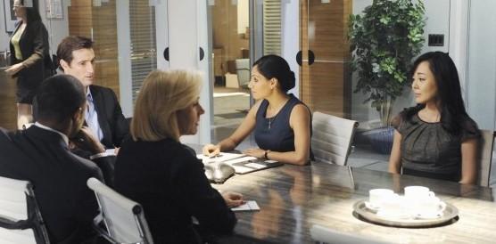 Pictured (L-R): Penelope Ann Miller, Jason George, Matthew Del Negro, Tehmina Sunny, Yunjin Kim -- © 2013 ABC Network