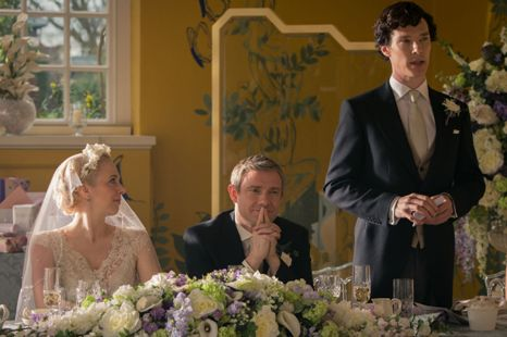 (L-R) Amanda Abbington as Mary Watson, Martin Freeman as John Watson, Benedict Cumberbatch as Sherlock Holmes. Photo credit: BBC