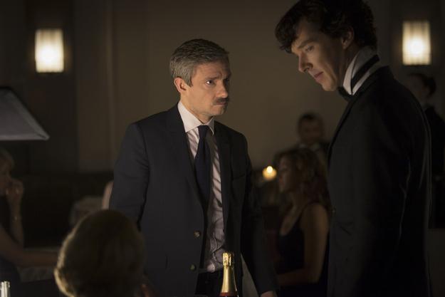 Martin Freeman as Watson (R) & Benedict Cumberbatch as Holmes (L) Image © BBC.