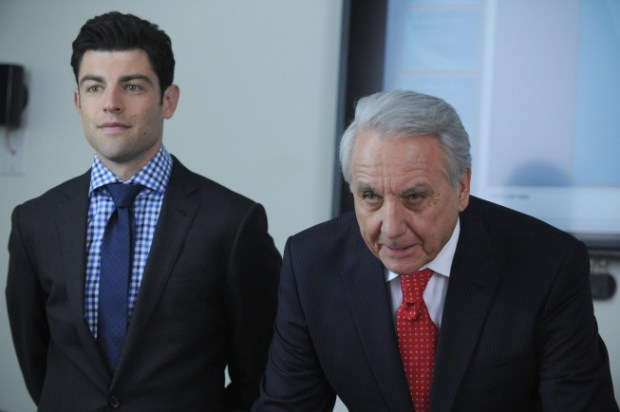 Schmidt (Max Greenfield, L) has his hands full when he is assigned to mentor a much older new hire (guest star Bob Gunton, R) at work. Co.  Cr: Ray Mickshaw/FOX