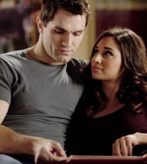 Pictured (L-R): Sam Witwer, Meaghan Rath -- Photo by: Pana Pantazidis / Syfy