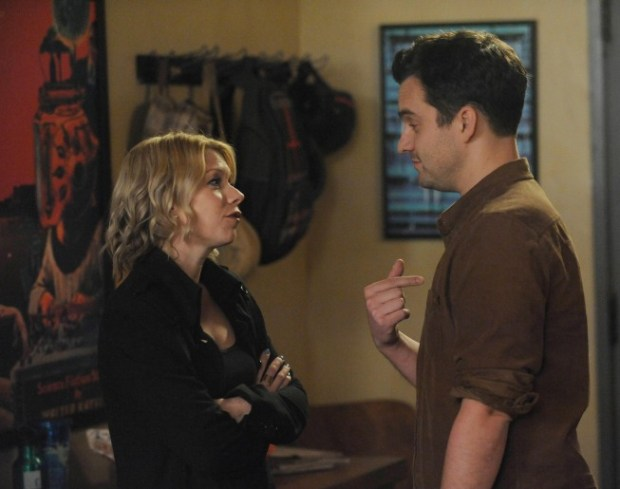 """Nick (Jake Johnson, R) is forced to face his ex-girlfriend, Caroline (guest star Mary Elizabeth Ellis, L),  in New Girl's """"Exes"""" Episode. Co.  Cr: Ray Mickshaw/FOX"""