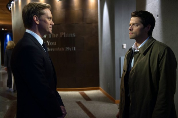 Pictured (L-R): Adam J. Harrington as Bartholomew and Misha Collins as Castiel -- Credit: Diyah Pera/The CW