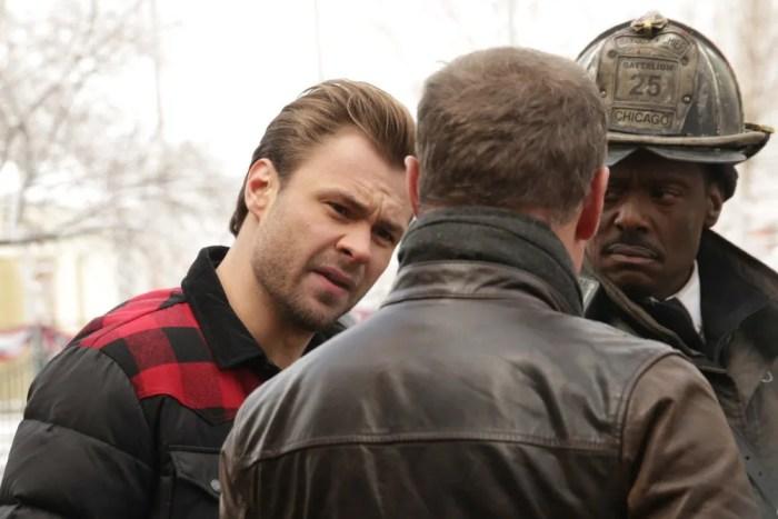 Pictured: (l-r) Patrick Flueger as Adam Ruzek, Jason Beghe as Hank Voight, Eamonn Walker as Chief Wallace Boden -- (Photo by: Elizabeth Morris/NBC)