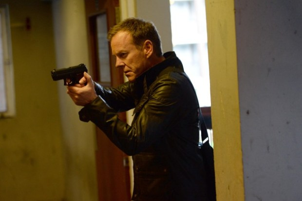 Jack (Kiefer Sutherland) tracks a man suspected to be a key participant in a plot to assassinate the President. Co. Cr: Daniel Smith/FOX