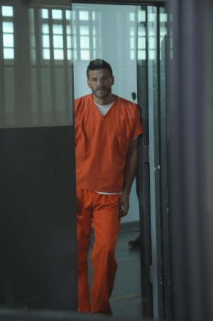 """Booth (David Boreanaz) awaits trial in jail in the """"The Conspiracy in the Corpse."""" Co.  Cr:  Ray Mickshaw/FOX"""