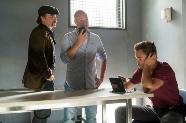 Pictured: (l-r) Elias Koteas as Alvin Olinsky, Joseph Price as Paul Schulze, Patrick John Flueger as Adam Ruzek -- (Photo by: Matt Dinerstein/NBC)