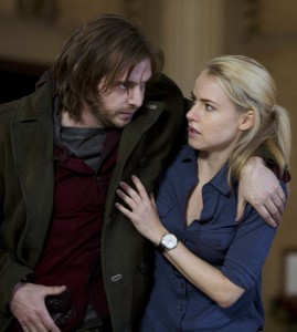 Pictured: (l-r) Aaron Stanford as Cole, Amanda Schull as Railly -- Photo  by: Alicia Gbur/Syfy