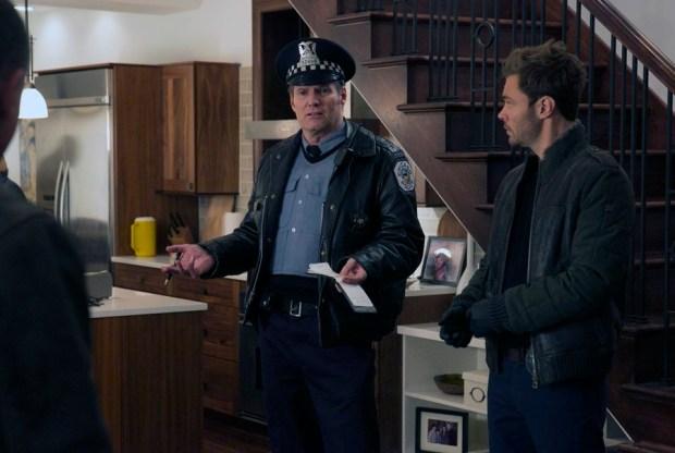 Pictured: (l-r) Jack Coleman as Bob Ruzek, Patrick John Flueger as Adam Ruzek -- (Photo by: Elizazbeth Sisson/NBC)