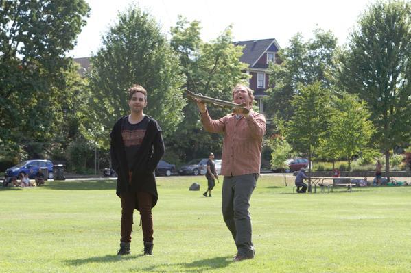 Pictured (L-R) Thomas Dekker as Ge=regory Valentine, Rainn Wilson as Everett Backstrom. Image © FOX
