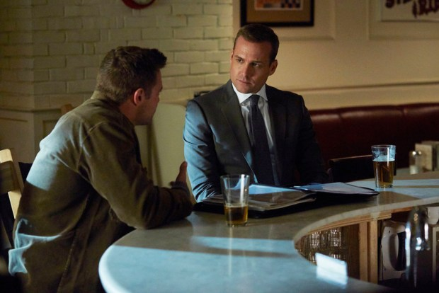 Pictured: (l-r) Billy Miller as Marcus Specter, Gabriel Macht as Harvey Specter -- (Photo by: Shane Mahood/USA Network)
