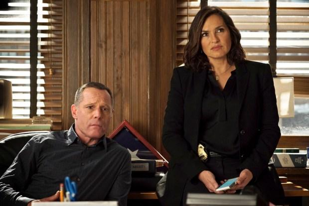 Pictured: (l-r) Jason Beghe as Hank Voight, Mariska Hargitay as Olivia Benson -- (Photo by: Elizabeth Morris/NBC)