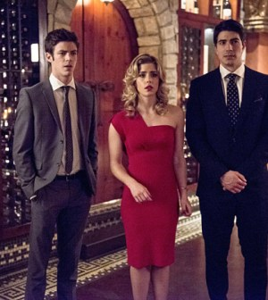 Pictured (L-R): Grant Gustin as Barry Allen, Emily Bett Rickards as Felicity Smoak, and Brandon Routh as Ray Palmer -- Photo: Cate Cameron/The CW