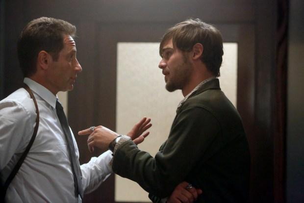 Pictured: (l-r) David Duchovny as Sam Hodiak, Grey Damon as Brian Shafe -- (Photo by: Vivian Zink/NBC)