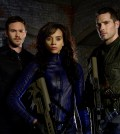 Pictured: Killjoys stars (l-r) Aaron Ashmore as John, Hannah John-Kamen as Dutch, Luke Macfarlane as D'Avin -- (Photo by: Steve Wilkie/Syfy)