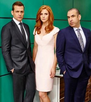 Pictured: (l-r) Gabriel Macht as Harvey Specter, Sarah Rafferty as Donna Paulsen, Rick Hoffman as Louis Litt -- (Photo by: Nigel Parry/USA Network)