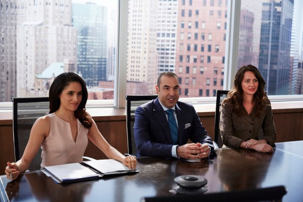 Pictured: (l-r) Meghan Markle as Rachel Zane, Rick Hoffman as Louis Litt, Amy Acker as Esther -- (Photo by: Shane Mahood/USA Network)