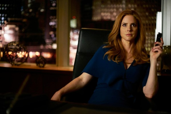 "SUITS -- ""Mea Culpa"" Episode 508 -- Pictured: Sarah Rafferty as Donna Paulsen -- (Photo by: Shane Mahood/USA Network)"
