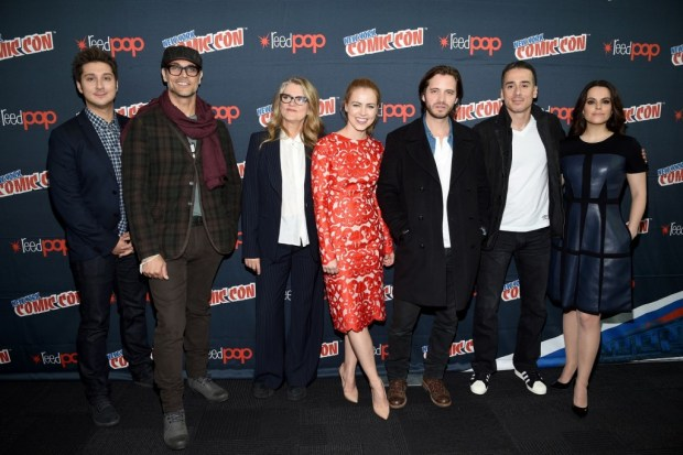 "NEW YORK COMIC CON -- ""12 Monkeys Press Room"" -- Pictured: (l-r) Terry Matalas, Executive Producer, Showrunner ""12 Monkeys""; Todd Stashwick, Barbara Sukowa, Amanda Schull, Aaron Stanford, Kirk Acevedo, Emily Hampshire ""12 Monkeys"" -- (Photo by: Mike Coppola/Syfy)"
