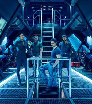 THE EXPANSE -- Pictured: (l-r) Dominique Tipper as Naomi Nagata, Wes Chatham as Amos, Steven Strait as Earther James Holden -- (Photo by: Jason Bell/Syfy)