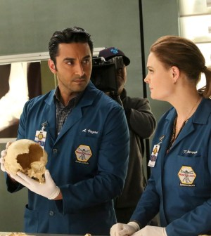 """BONES: L-R: Guest star Pej Vahdat and Tamara Taylor in the """"The Movie in the Making"""" episode of BONES. ©2016 Fox Broadcasting Co.  Cr:  Patrick McElhenney/FOX"""