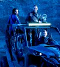 Pictured: (l-r) Hannah John-Kamen as Dutch, Luke Macfarlane as D'avin, Aaron Ashmore as John -- (Photo by: Steve Wilkie/Syfy/Killjoys II Productions Limited)
