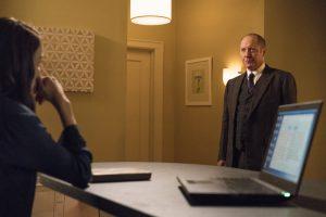 "THE BLACKLIST -- ""Miles McGrath #65"" Episode 403 -- Pictured: (l-r) Megan Boone as Elizabeth Keen, James Spader as Raymond ""Red"" Reddington -- (Photo By: David Giesbrecht/NBC)"