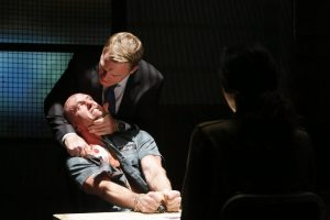 """THE BLACKLIST -- """"Dr. Adrian Shaw (#98): Conclusion"""" Episode 408 -- Pictured: (l-r) Adam McNulty as Viktor, Diego Klattenhoff as Donald Ressler, Mozhan Marno as Samar Navabi -- (Photo by: Will Hart/NBC)"""