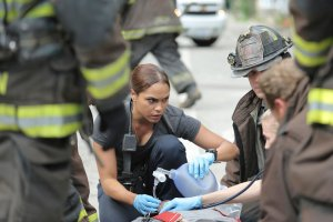 "CHICAGO FIRE -- ""A Real Wake-up Call"" Episode 502 -- Pictured: Monica Raymund as Gabriela Dawson -- (Photo by: Parrish Lewis/NBC)"