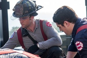 "Pictured: (l-r) Jesse Spencer as Matthew Casey, Yuri Sardarov as Brian ""Otis"" Zvonecek -- (Photo by: Matt Dinerstein/NBC)"