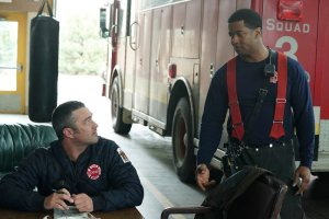 "CHICAGO FIRE -- ""Sixty Days"" Episode 521 -- Pictured: (l-r) Taylor Kinney as Kelly Severide, Kamal Angelo Bolden as Jason Kannell -- (Photo by: Elizabeth Morris/NBC)"