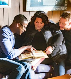 "THIS IS US -- ""The Trip"" Episode 109 -- Pictured: (l-r) Sterling K. Brown as Randall, Chrissy Metz as Kate, Justin Hartley as Kevin -- (Photo by: Ron Batzdorff/NBC)"