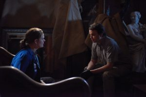 BONES: L-R: Emily Deschanel and guest star Eric Millegan | Co. Cr: Ray Mickshaw/FOX