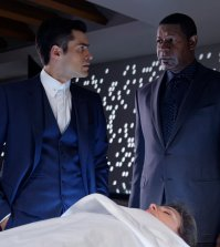 Pictured: (l-r) Sean Teale as Ben Larson, Dennis Haysbert as Julian -- (Photo by: Ben Mark Holzberg/Syfy)