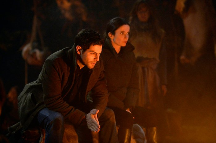 """GRIMM -- """"Where The Wild Things Were"""" Episode 611 -- Pictured: (l-r) David Giuntoli as Nick Burkhardt, Bitsie Tulloch as Eve -- (Photo by: Allyson Riggs/NBC)"""