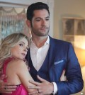"LUCIFER: L-R: Guest star Lindsey Gort and Tom Ellis in the ""Candy Morningstar"" spring premiere episode of LUCIFER 