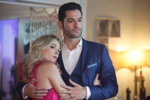 """LUCIFER: L-R: Guest star Lindsey Gort and Tom Ellis in the """"Candy Morningstar"""" spring premiere episode of LUCIFER 