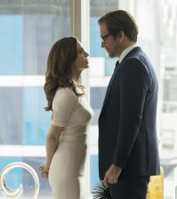"""""""Bull """"How to Dodge a Bullet"""" -- Pictured L-R: Eliza Dushku as J.P. Nunnelly and Michael Weatherly as Dr. Jason Bull Photo: David Giesbrecht/CBS"""