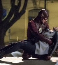 Pictured (L-R) Grant Gustin as Barry Allen and Candice Patton as Iris West -- Photo Katie Yu/CW