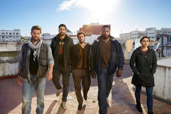 "THE BRAVE -- Season: Pilot -- Pictured: (l-r) Mike Vogel as Michael Dalton, Noah Mills as Joseph J. McGuire, Hadi Tabbal as Amir Al-Rasani, Demetrius Grosse as Anthony ""Preach"" Carter, Natacha Karam as Jasmine ""Jaz"" Ervin -- (Photo by: Jeff Riedel/NBC)"