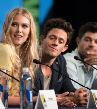 "STITCHERS - Comic-Con - Cast and executive producers from Freeform's hit original series ""Shadowhunters"" and ""Stitchers"" were featured at this year's San Diego Comic Con with panels, autograph signings and press rooms. (Freeform/Matt Petit) EMMA ISHTA, KYLE HARRIS, DAMON DAYOUB"