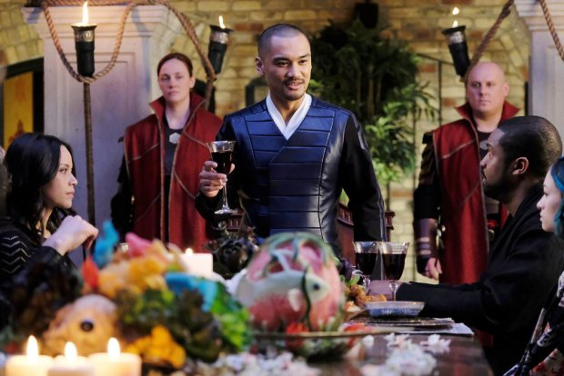 "DARK MATTER -- ""My Final Gift To You"" Episode 312 -- Pictured: (l-r) Melissa O'Neil as Two, Alex Mallari Jr. as Four, Roger Cross as Six -- (Photo by: Stephen Scott/Dark Matter Series 3/Syfy)"