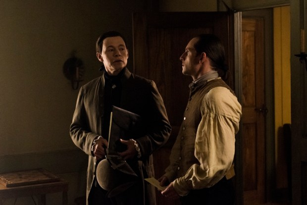 Burn Gorman as Major Hewlett, Jamie Bell as Abraham Woodhull - TURN: Washington's Spies _ Season 4, Episode 10 - Photo Credit: Antony Platt/AMC
