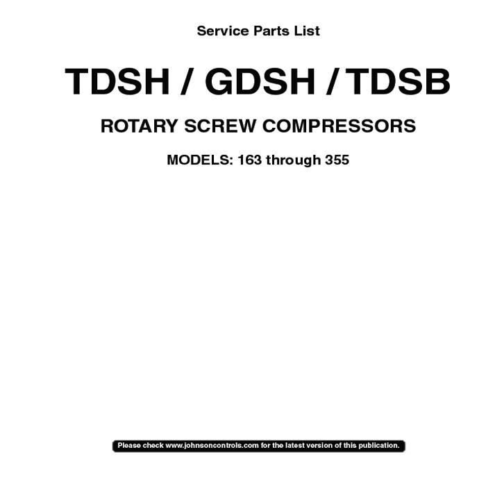 Frick Tdsh Screw Compressor Manual