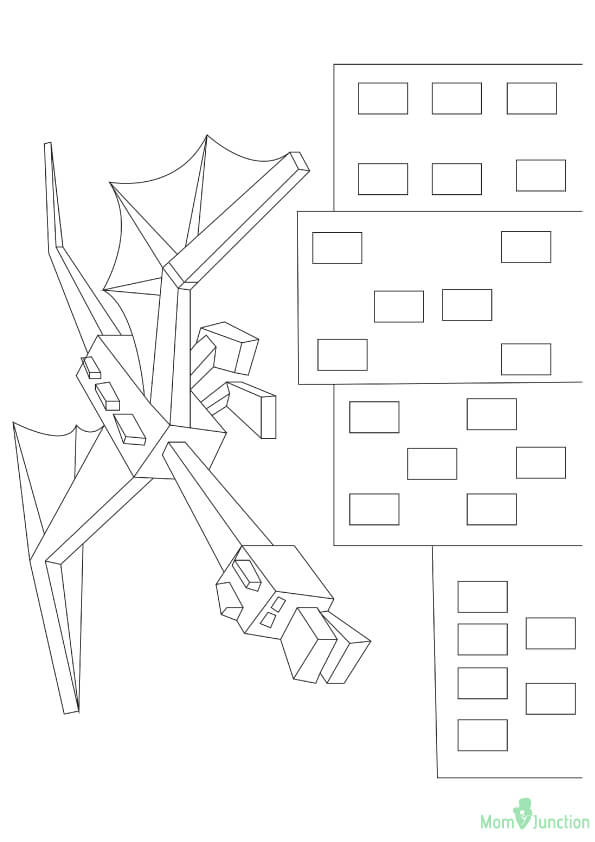 ender dragon all set to destroy the world coloring page