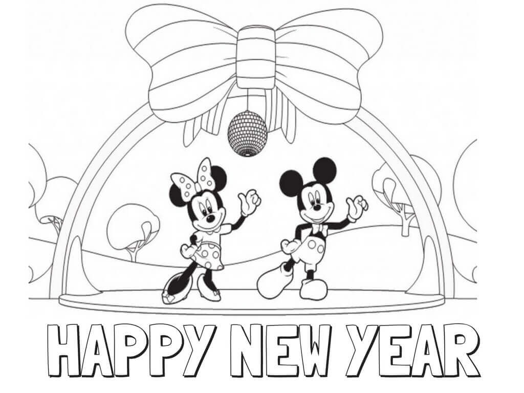 Mickey Mouse Happy New Year Pages Coloring Pages